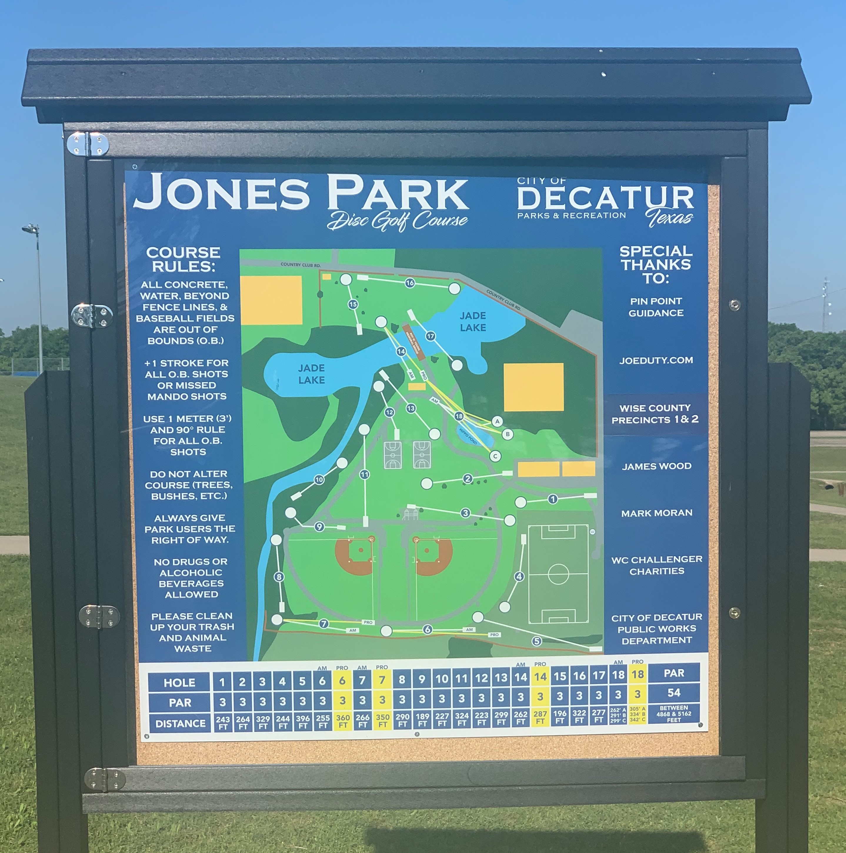 Jones Park Disc Golf Map Sign